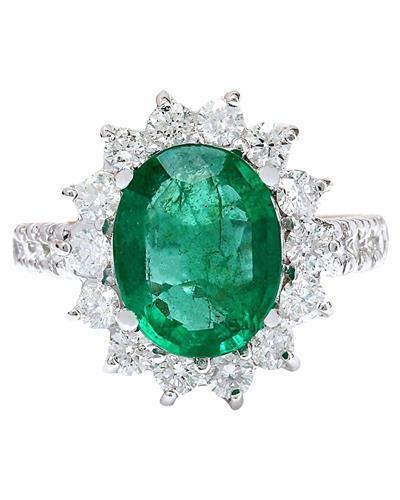 3.98 Carat Natural Emerald 14K Solid White Gold Diamond Ring