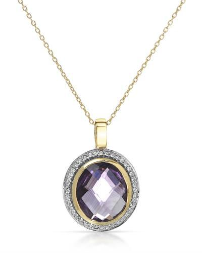 Brand New Necklace with 5.59ctw of Precious Stones - amethyst and topaz 14K/925 Two tone Gold plated Silver