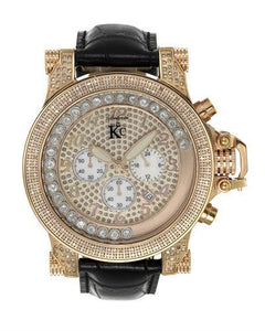 Techno Com by KC Brand New Japan Quartz date Watch with 1.5ctw of Precious Stones - crystal, diamond, and mother of pearl