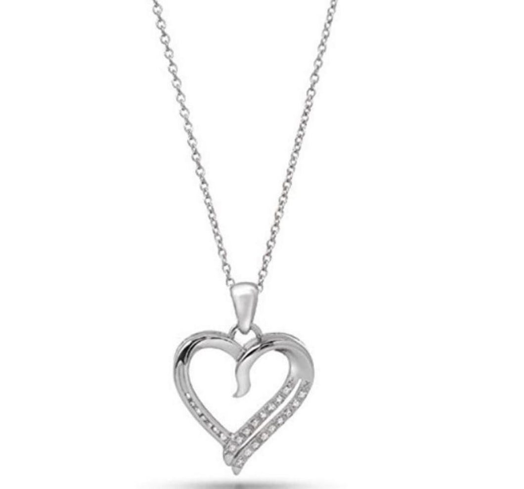Brand New 0.12ctw Diamond Heart Pendant In 925 Sterling Silver