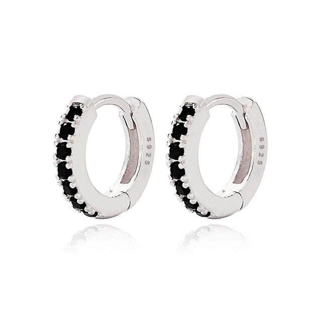 White Huggie Earrings with Black Stones