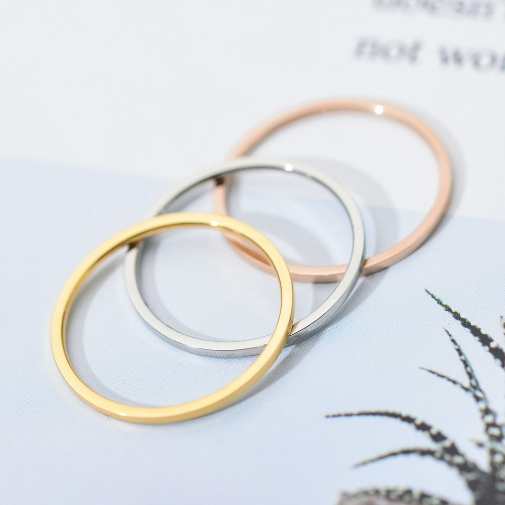 1mm Round Ring Gold Plated Stainless Steel