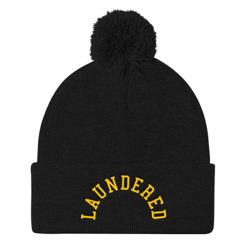 LAUNDERED ARCH POM POM KNIT CAP