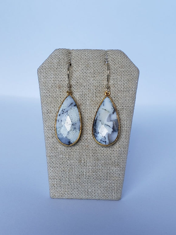 Dendritic Agate (Large) Teardrop Earrings