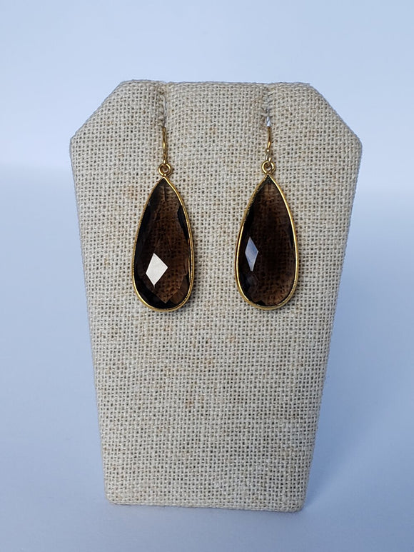 Smoky Quartz (Medium) Teardrop Earrings