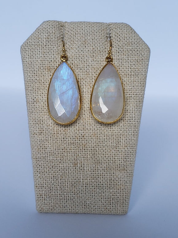 Rainbow Moonstone Teardrop (Large) Earrings