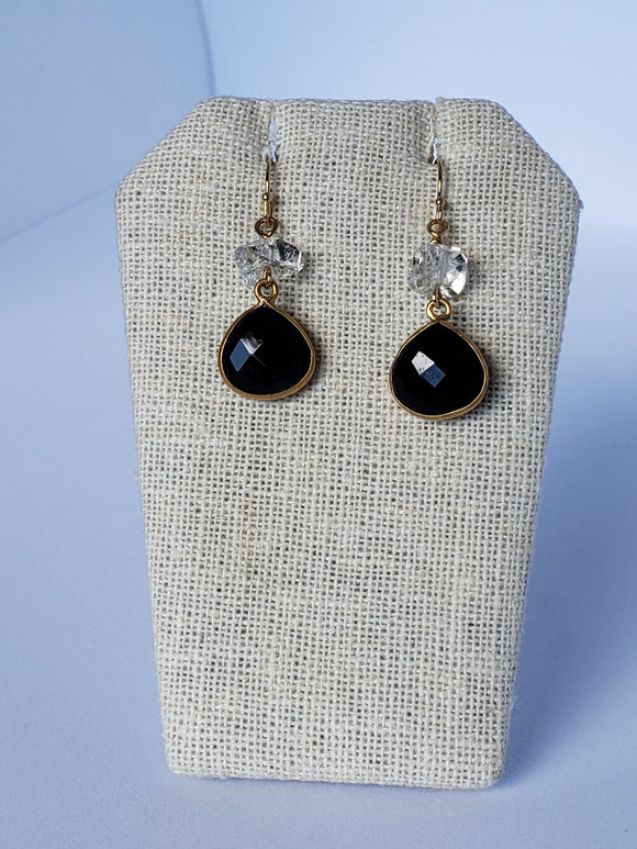 Black Onyx with Herkimer Diamond Earrings