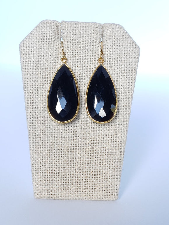 Black Onyx Teardrop (Large) Earrings