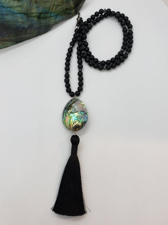 Mother of Pearl & Matte Black Onyx Mala Bead Necklace