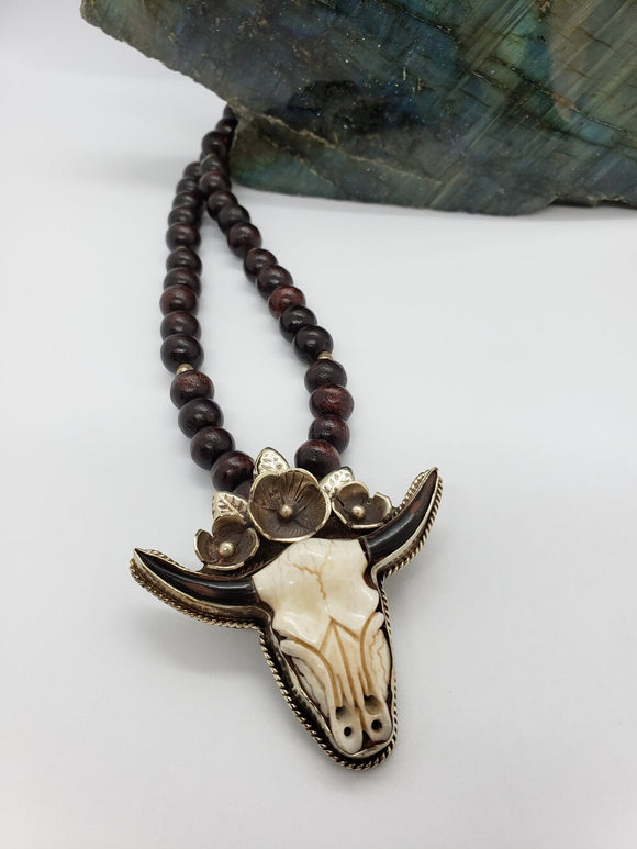 Cow Skull Mala Necklace