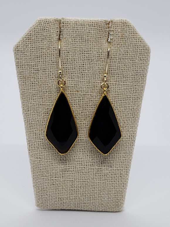 Black Onyx Diamond Shaped (Medium) Earrings