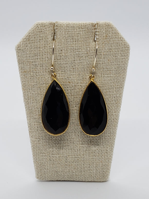 Black Onyx Teardrop (Medium) Earrings