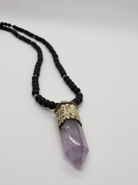 Amethyst & Matte Black Onyx Mala Necklace