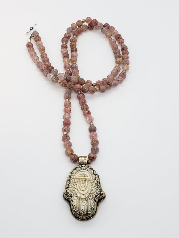 Hamsa Hand Strawberry Quartz Mala Necklace