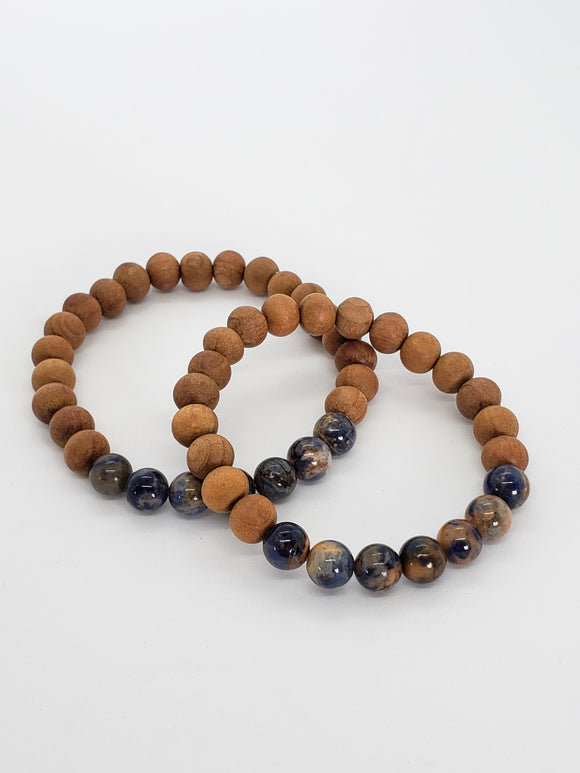Orange Sodalite & Sandalwood Healing Bracelet