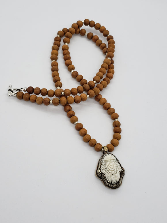 Tibetan Hamsa Hand Pendant with Sandalwood Mala Necklace