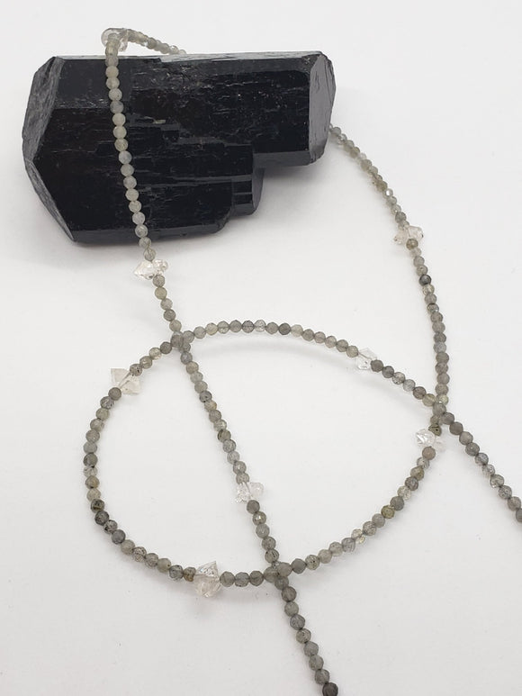 Faceted Labradorite & Herkimer Diamond Mask Necklace