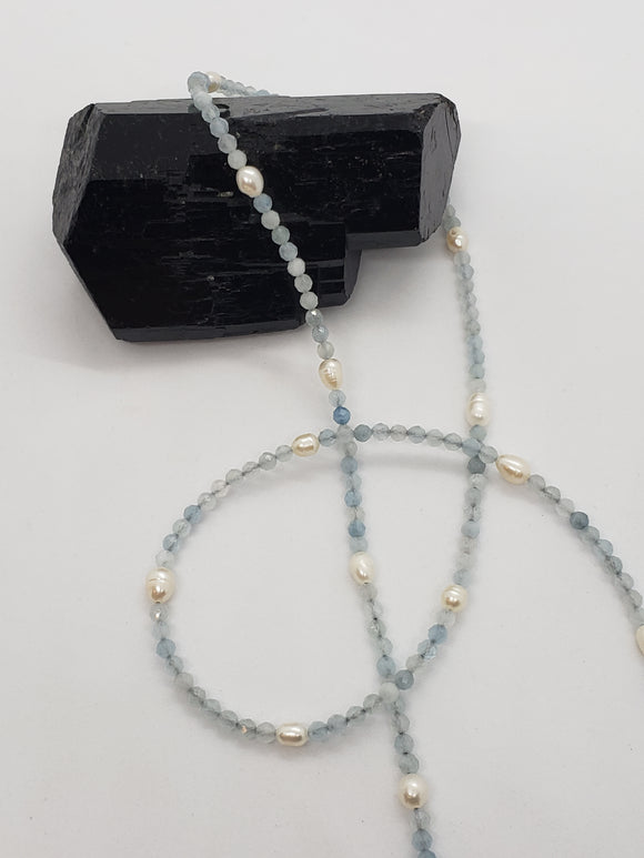Faceted Aquamarine & Freshwater Pearl Mask Necklace