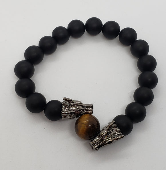 Matte Onyx and Tiger Eye Dragon Bracelet
