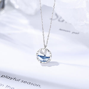 Huitan New Fashion Delicate Round Pendent Necklace for Women Ocean Mermaid Tail Romantic Love Birthday Anniversary Gift Jewelry
