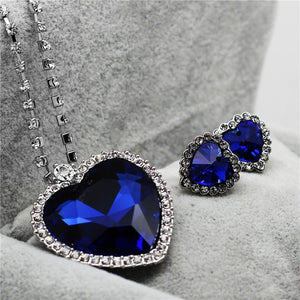 Heart of Ocean Blue Heart Love Forever Jewelry Set For Women Crystal Rhinestones Necklace Earrings Ring Bracelet Set