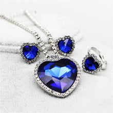 Load image into Gallery viewer, Heart of Ocean Blue Heart Love Forever Jewelry Set For Women Crystal Rhinestones Necklace Earrings Ring Bracelet Set