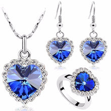 Load image into Gallery viewer, Fashion brand name Factory wholesales Austrian Crystal Ocean Heart Pendant Love Necklace Earrings Ring Jewelry sets 84018