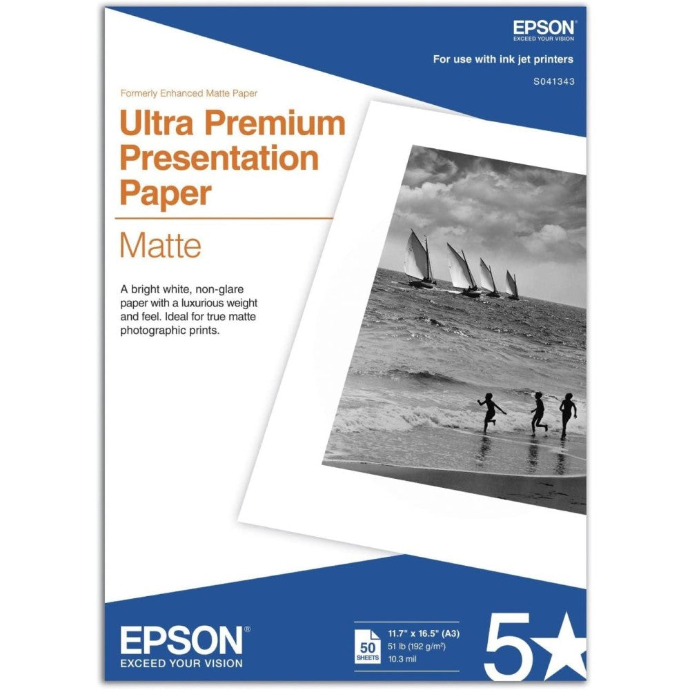 EPSS041343 Epson Ultra Premium Presentation Paper Matte - Matte - 10.3 mil - A3 (11.7 in x 16.5 in) - 192 g/m² - 50 sheet(s) paper - for Stylus Pro 11880, Pro 38XX, Pro 48XX, Pro 78XX; Stylus Photo R2880; WorkForce 1100