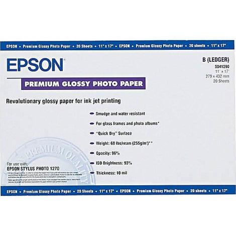 EPSS041290 Epson - Glossy - Ledger B Size (11 in x 17 in) 20 sheet(s) paper - for Stylus Pro 38XX; Stylus Photo 12XX, 2200, R1800, R2400, R2880; WorkForce 1100