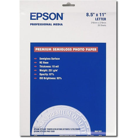 EPSS041331 Epson - Semi-glossy - Letter A Size (8.5 in x 11 in) - 251 g/m² - 20 sheet(s) photo paper - for Expression ET-3600