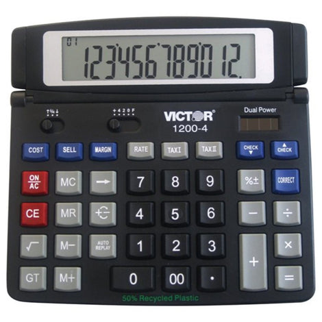 VCT1200-4 Victor 1200-4 - Desktop calculator - 12 digits - solar panel, battery - black