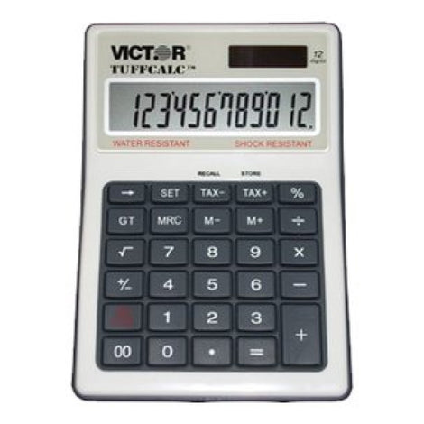 VCT99901 Victor TuffCalc 99901 - Desktop calculator - 12 digits - solar panel, battery - black, white