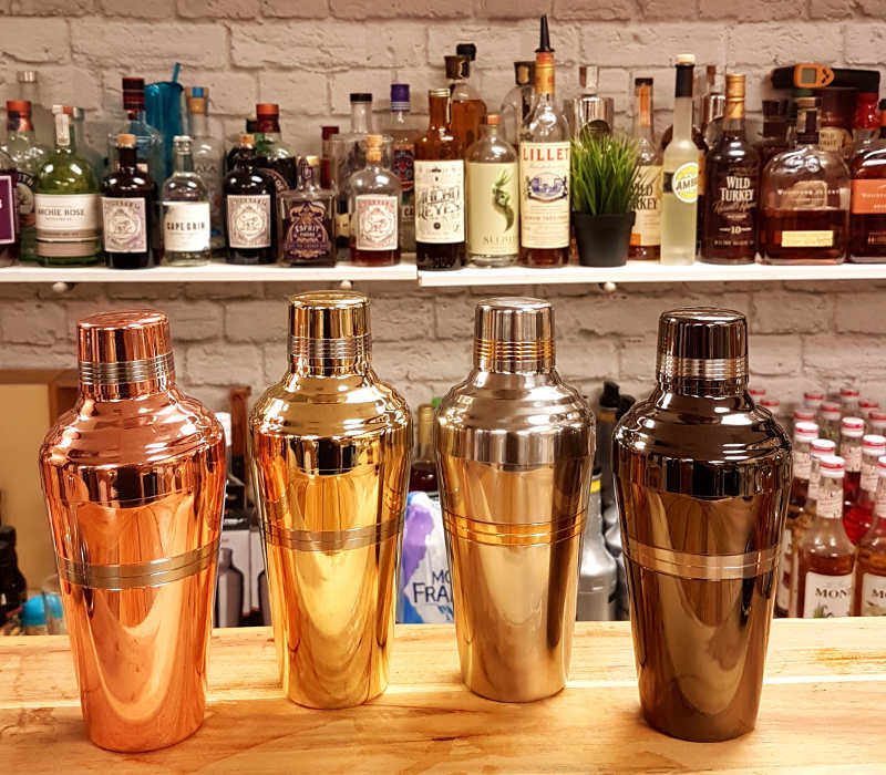 Uberbartools JShaker cocktail shaker in copper, gold, chrome and black