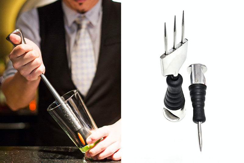 Uberbartools muddler and ice tools with ProGrip design