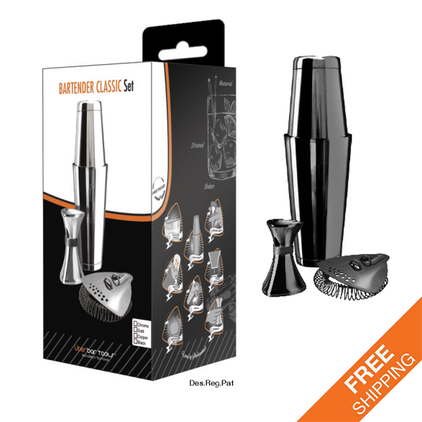 Bartender Classic Set Platinum Black (Incl. Boston & Toby Tin w/ Weighted Base)
