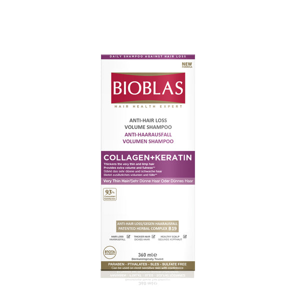 BIOBLAS ANTI HAIR LOSS VOLUME SHAMPOO COLLAGEN+KERATIN 360ML (5952188350624)