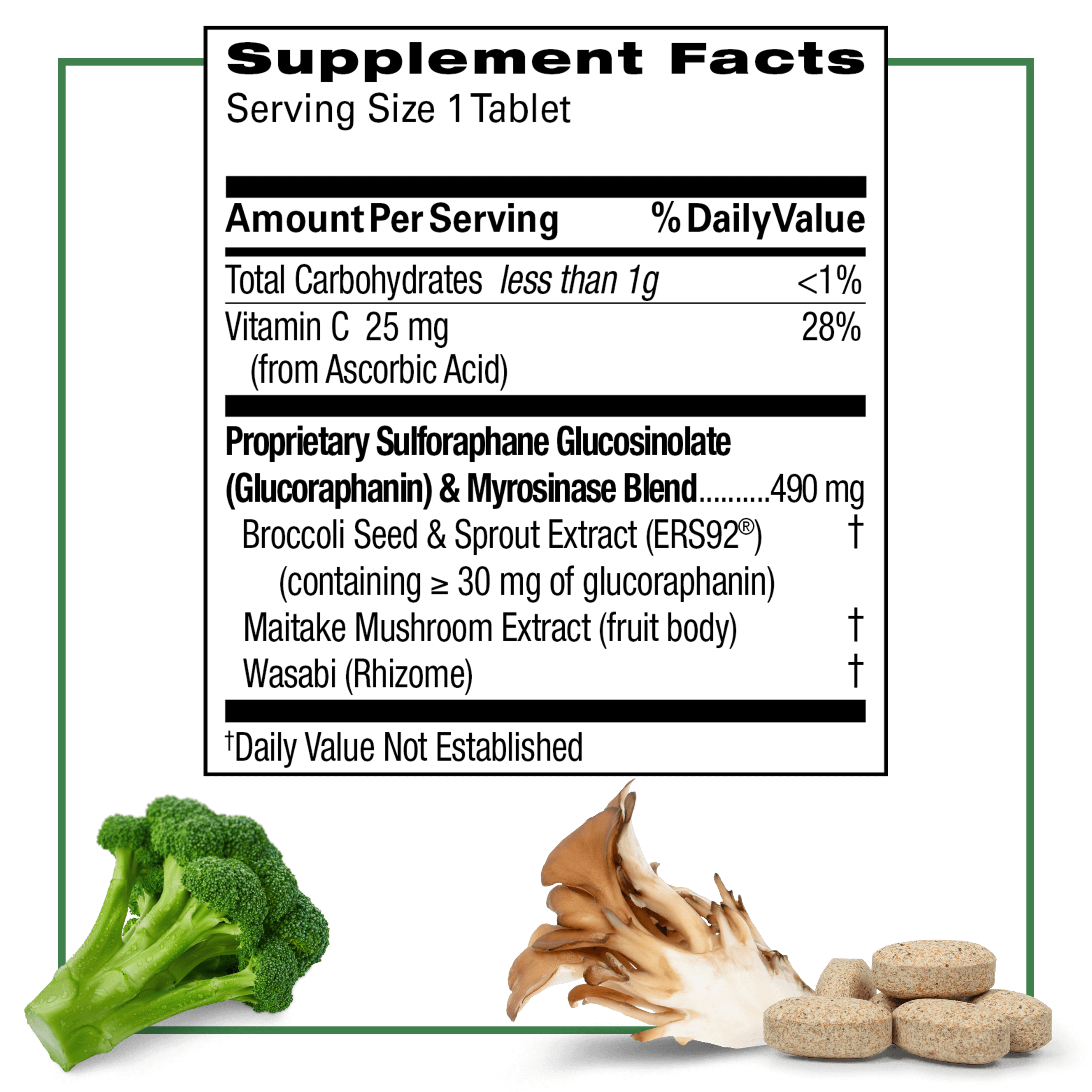 supplement facts table & list of ingredients for Avmacol Extra Strength with a broccoli floret, maitake mushroom & tablets