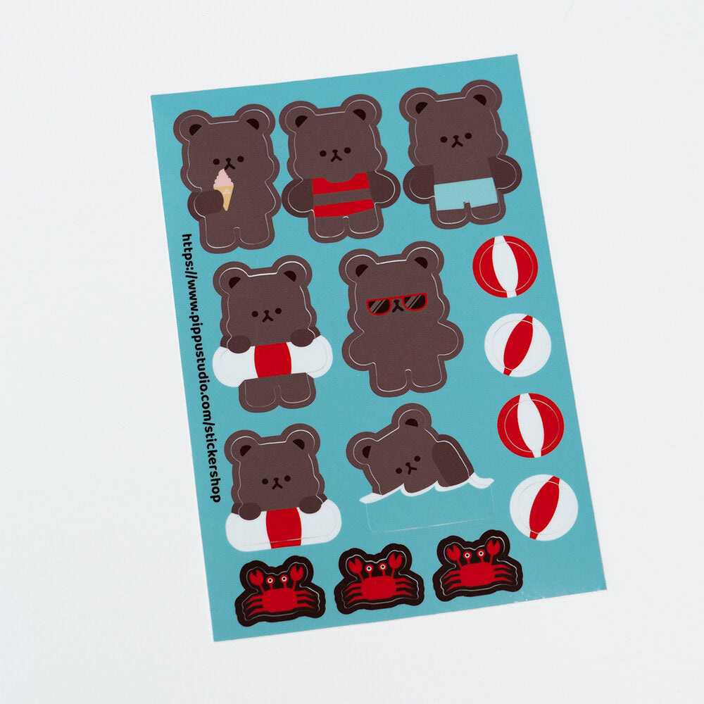 Beach bear sticker sheet 1: beach bear collection