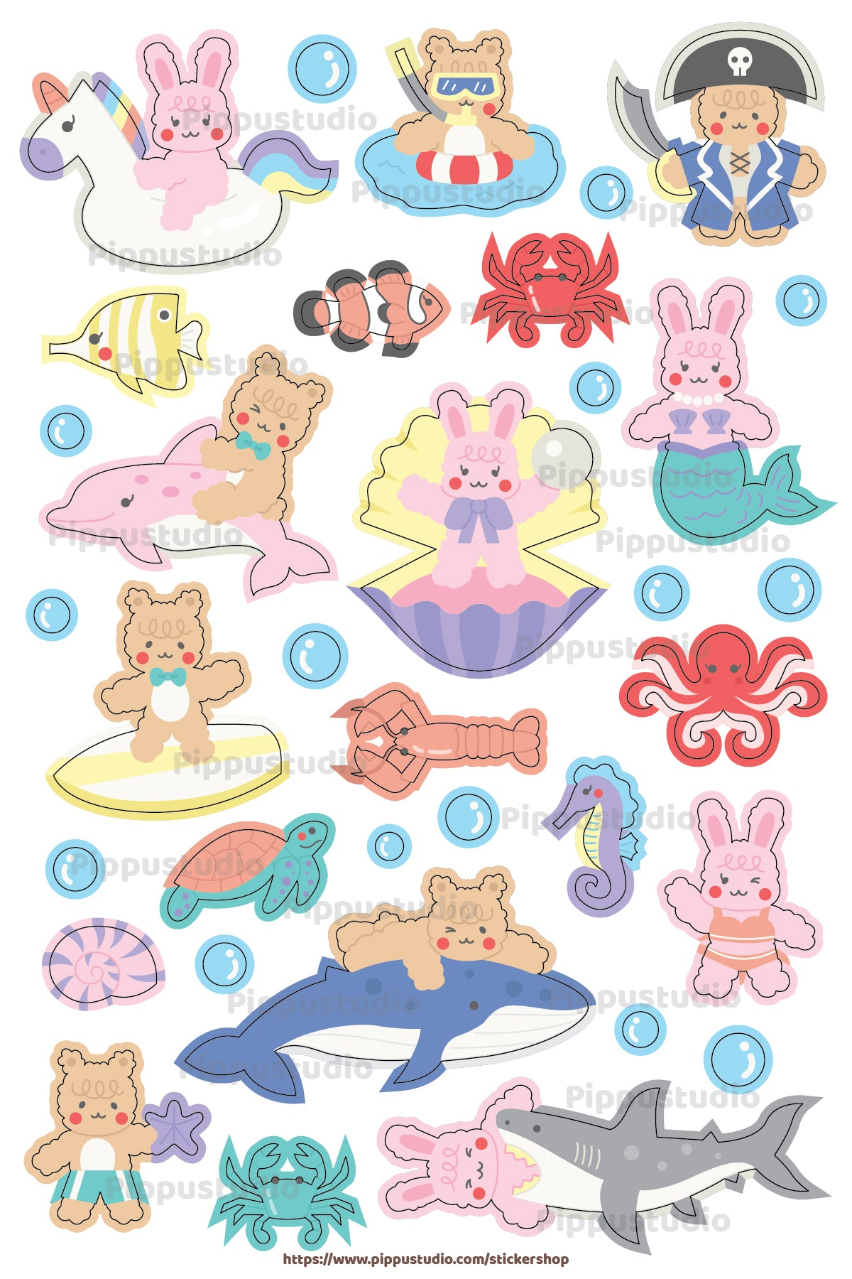 Ocean world sticker sheet