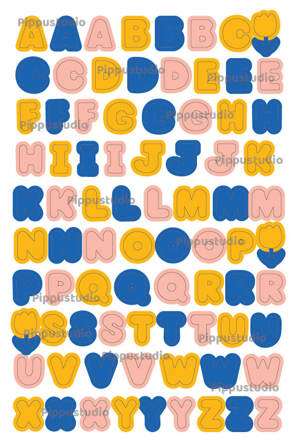 A14-Letters sticker sheet: Fluffy love collection