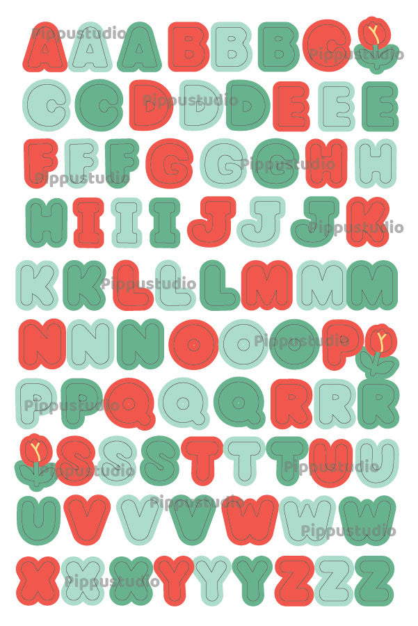 Letters sticker sheet: Back to the wood collection