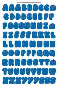 A62-Blue gummy letter sticker sheet