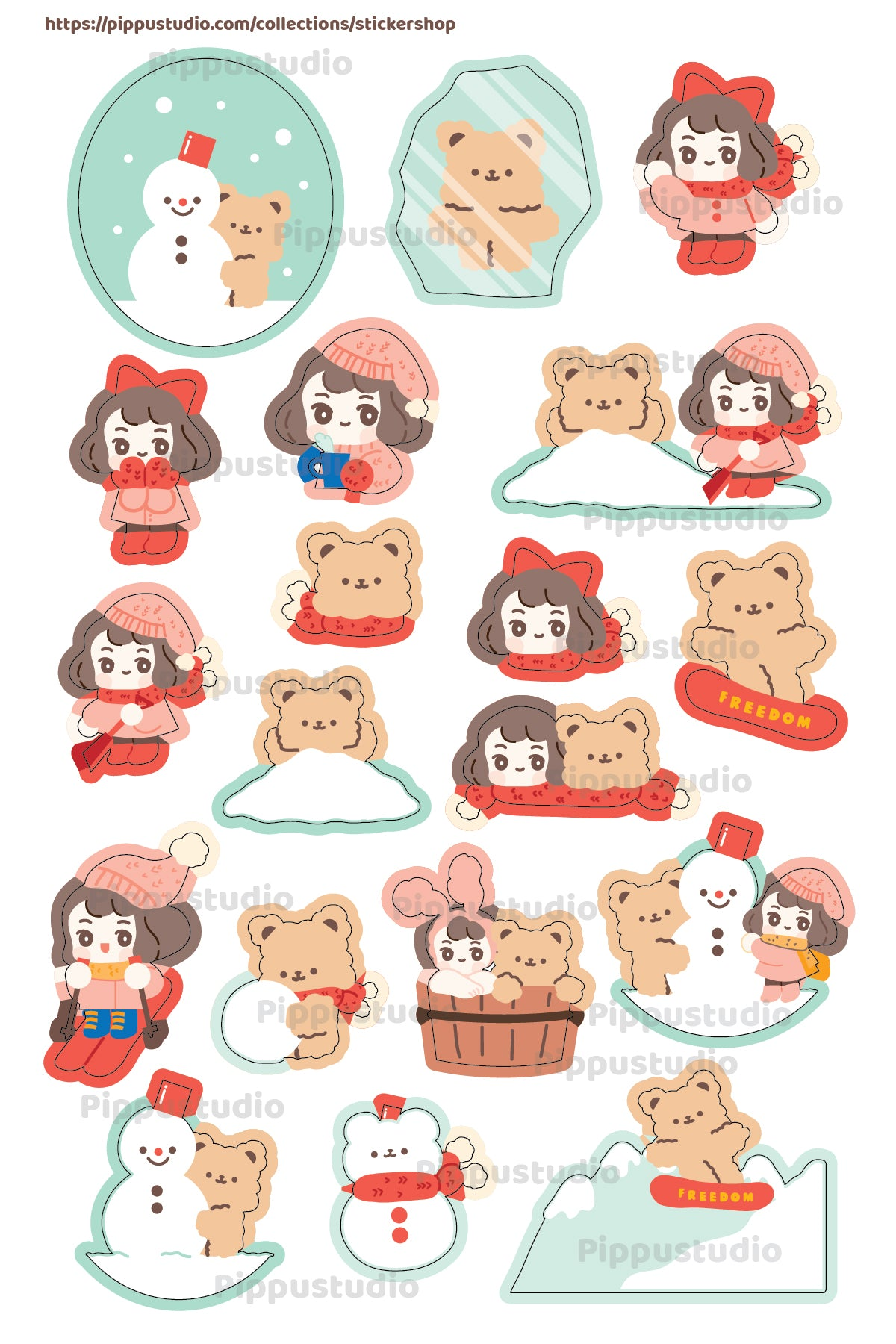 A43-Winter sticker sheet