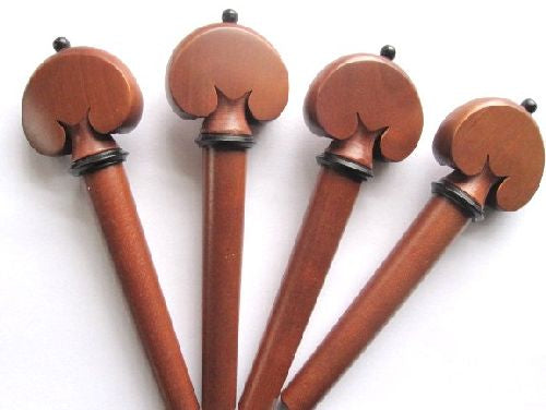 Cello pegs-Heart-Boxwood-ebony collar ebony pin