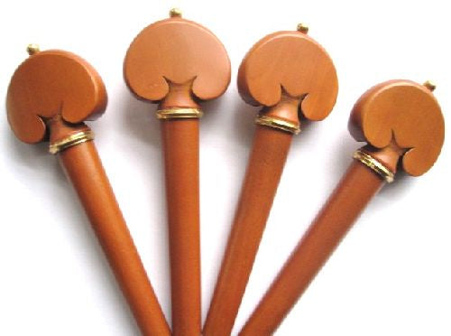 Cello pegs-Heart-Boxwood-gold collar gold pin