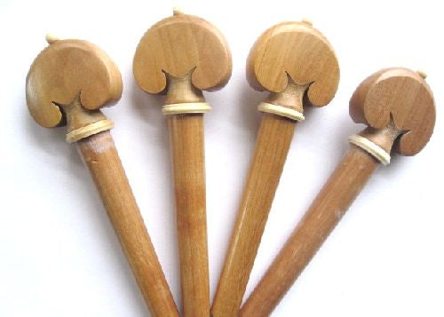 Cello pegs-Heart-Walnut- white trimme