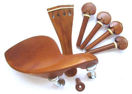 Violin fitting set- boxwood-white trimme-heart