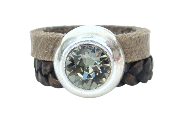 Leren ring breed taupe swarovski