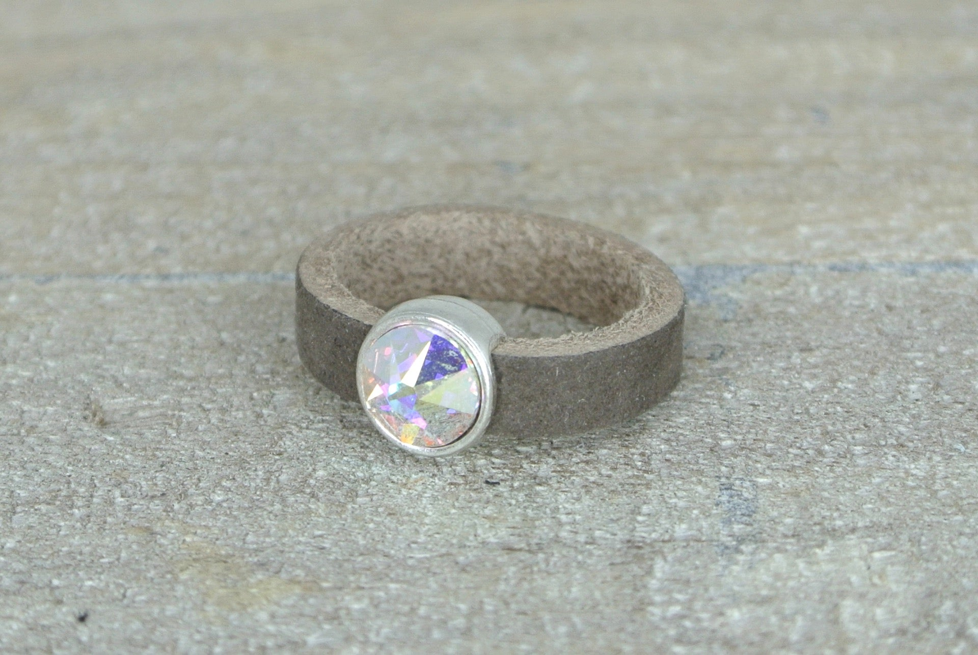 Leren ring super sparkle
