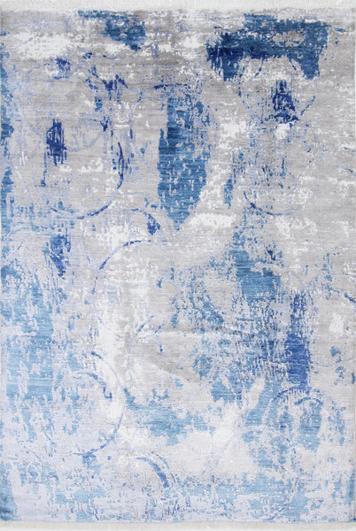 Abstract Blue, 292x198 cm, Vlna a hodváb, India